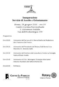 Inaugurazione Servizio di Ascolto e Orientamento @ Centro Caritas Parrocchiale  S. Giovanna Antida | Roma | Lazio | Italia