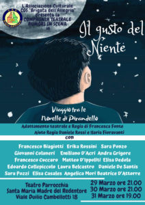 """La C.G.S. """"Brigata dell'allegria"""" presenta lo spettacolo teatrale: """"Il gusto del niente - viaggio tra le novelle di Pirandello"""" @ Teatro Parrocchia Santa Maria Madre del Redentore   Roma   Lazio   Italia"""