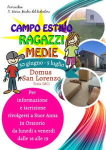 Campo Estivo Medie 2020 @ Domus San Lorenzo Treia (MC) | Marche | Italia